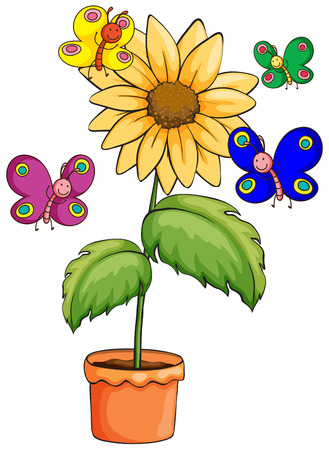 Illustration of a pot with a flowering plant and colourful butterflies on a white background Vector