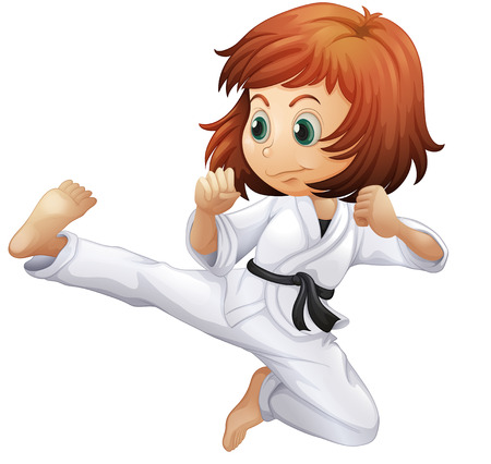 female kick: Illustration of a brave young lady doing karate on a white background