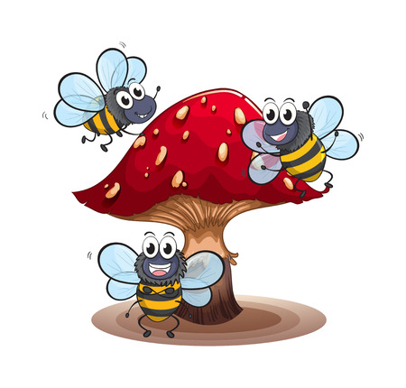 drawings image: Illustration of a big mushroom with smiling bees on a white background