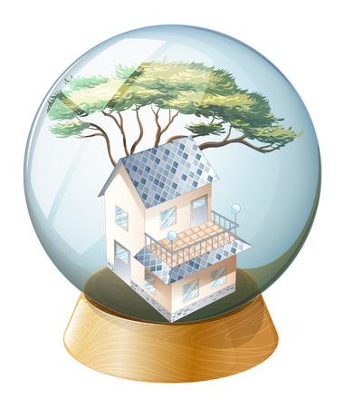 giveaway: Ilustraci�n de una bola de cristal con una casa sobre un fondo blanco