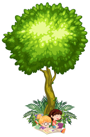 Illustration of the girls reading under the tree on a white background Vector
