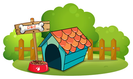 menu land: Illustration of a pethouse near the fence on a white background Illustration