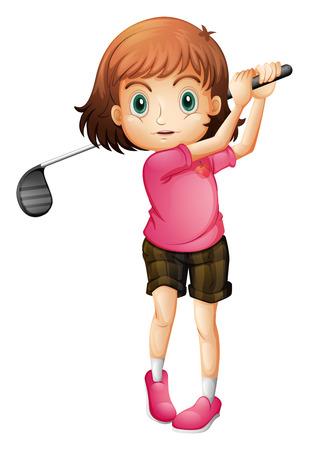 teen golf: Ilustración de una mujer joven que juega al golf en un fondo blanco