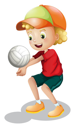 Illustration of a young boy playing volleyball on a white background Vector
