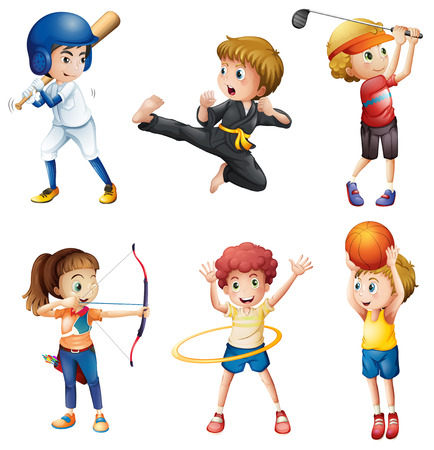 Illustration of the teenagers engaging in different activities on a white background Vector