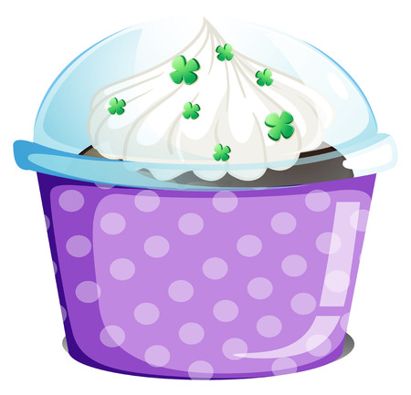 disposable: Illustration of a disposable container with a cake on a white background
