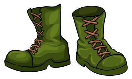Illustratie van een paar groene laarzen op een witte achtergrond
