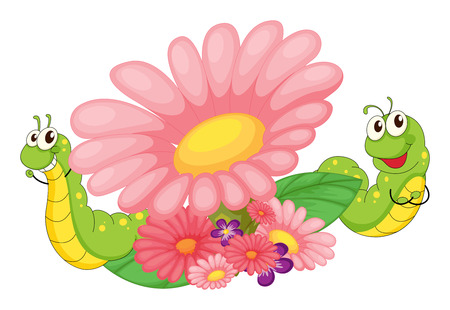 Illustration of the smiling worms and blooming flowers on a white background