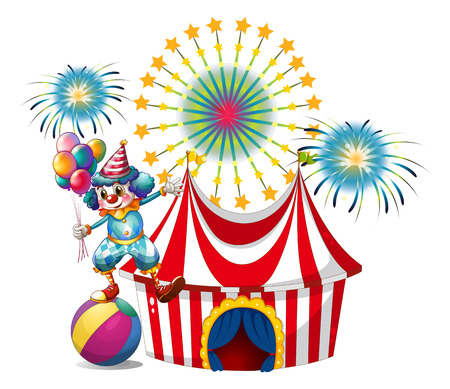 Illustration of a carnival with a clown holding balloons on a white background Vector