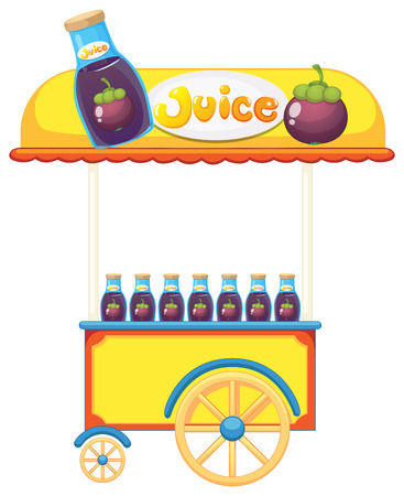 Illustration of a pushcart selling fruit juice on a white background Vector