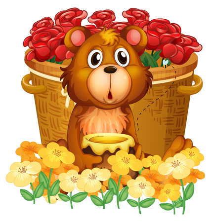 Illustration of a bear in front of the basket with red roses on a white background Vector