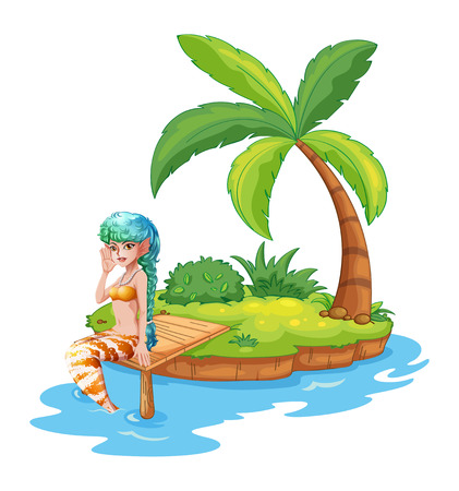 Illustration of a pretty mermaid in the island on a white background Vector