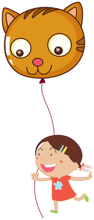 Illustration of a young girl holding a cat balloon on a white background Vector