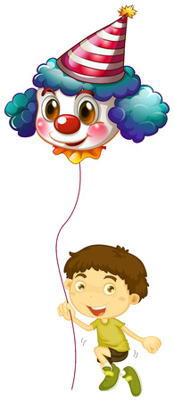 Illustration of a young boy holding a clown balloon on a white background Stock Vector - 29111434