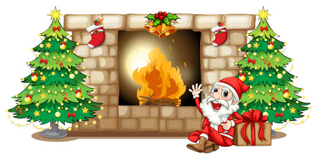Illustration of a happy Santa near the fireplace on a white background Vector