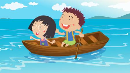 canotaje: Ilustraci�n de un ni�o y una ni�a de paseos en bote