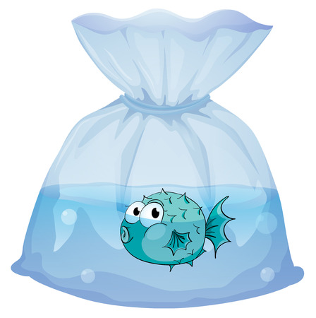 Illustration of a blue fish inside the plastic on a white background Stock Vector - 29111437