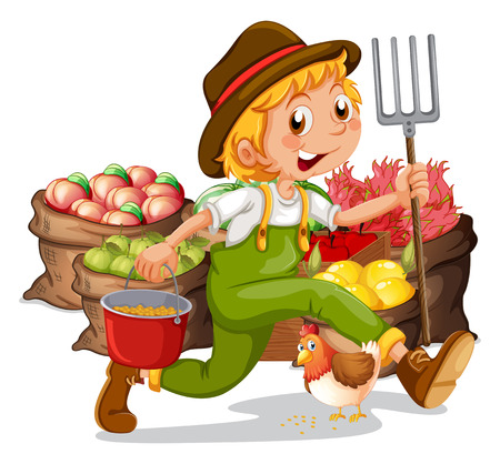 Illustration of a young gardener on a white background