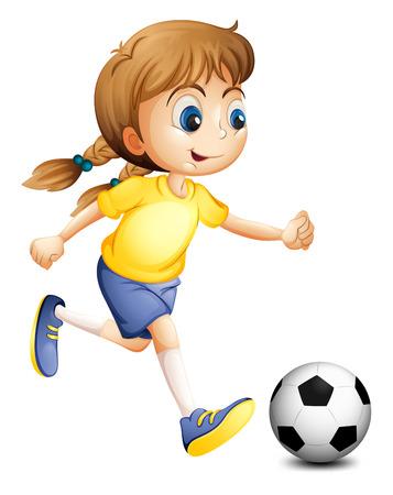 Illustratie van een jonge vrouw spelen voetbal op een witte achtergrond