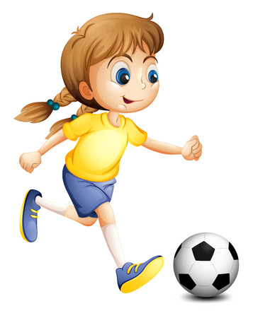 Illustration of a young woman playing football on a white background