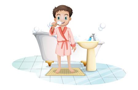 regimen: Illustration of a man brushing his teeth on a white background Illustration