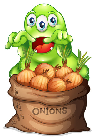 Illustration of a sack of onions with a monster on a white background