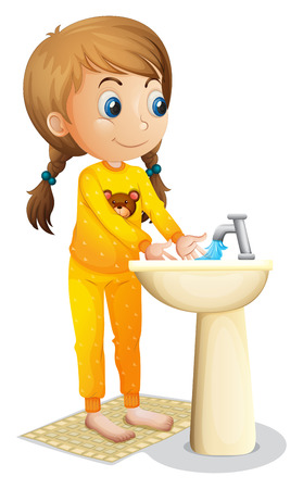 Illustration of a cute young girl washing her hands on a white background