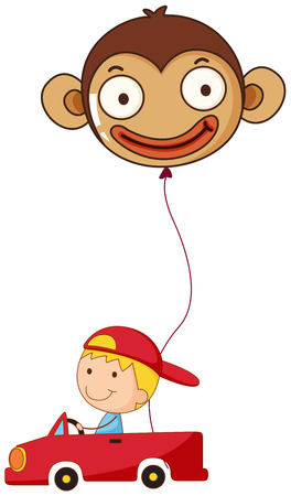 Illustration of a red car with a boy and a monkey balloon on a white background Vector