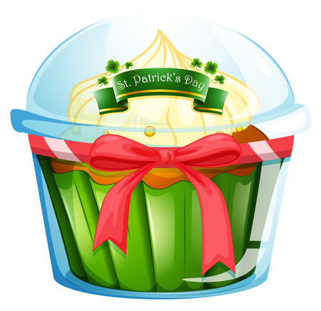 feast of saint patrick: Illustration of a cupcake for St. Patricks day on a white background