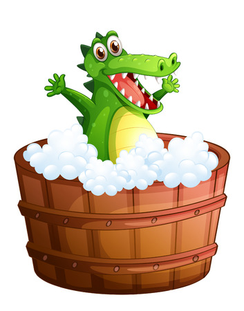 Illustration of a crocodile taking a bath on a white background Stock Vector - 29111453