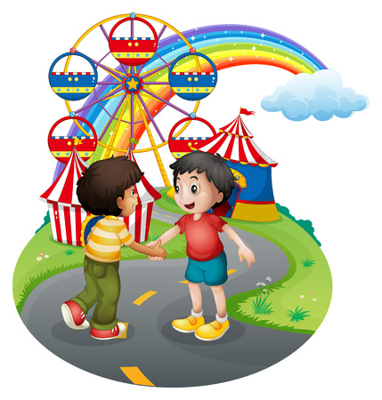 skyblue: Illustration of the boys handshaking in front of the carnival on a white background