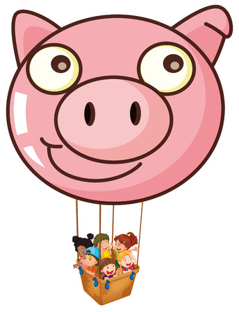 Illustration of a pig balloon carrying a basket with kids on a white background Vector