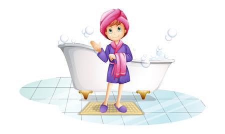 Ilustración de una mujer cerca de la tina de baño sobre un fondo blanco
