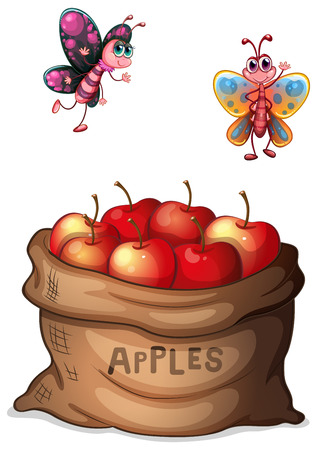 Illustration of a sack of crunchy apples on a white background Vector