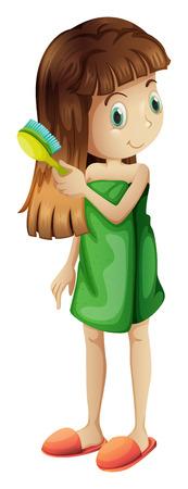 aseo personal: Ilustración de una chica joven que se peina el pelo largo en un fondo blanco