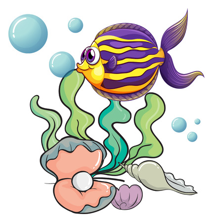 ocean cartoon: Illustration of the creatures under the sea on a white background