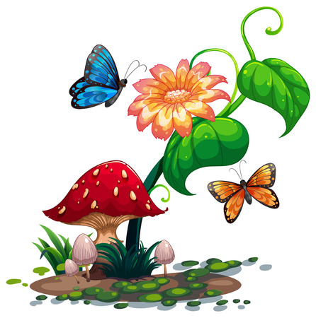 giant mushroom: Illustration of a flowering plant with butterflies on a white background Illustration