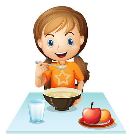 Ilustración de una niña sonriente comiendo su desayuno sobre un fondo blanco. Foto de archivo - 29111530