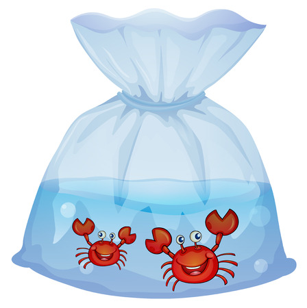 Illustration of the crabs inside the plastic on a white background Stock Vector - 29111535