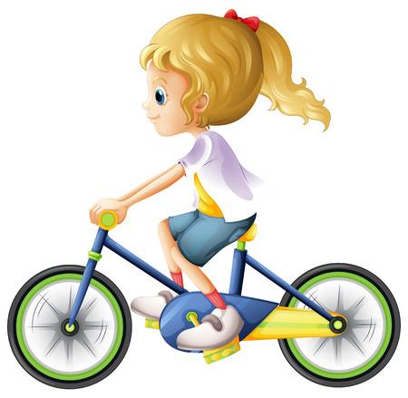白い背景に自転車の若い女性のイラスト