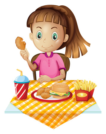 Illustration of a girl eating at the fastfood store on a white background Vector