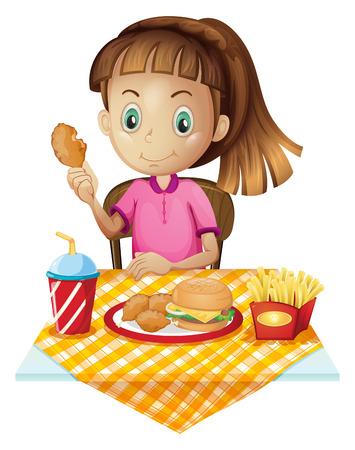 nuggets pollo: Ilustraci�n de una ni�a de comer en la tienda de comida r�pida en un fondo blanco