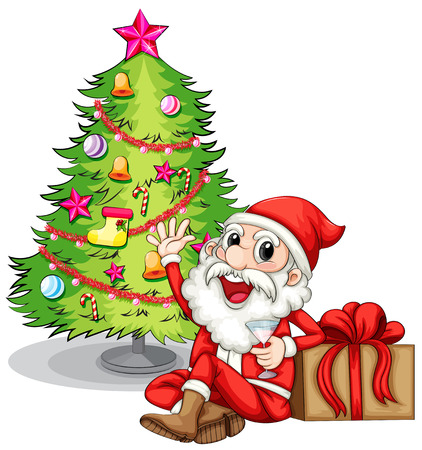 Illustration of a happy Santa near the christmas tree on a white background Vector