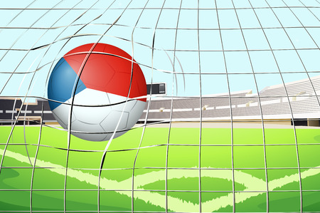 contingent: Illustration of a ball at the field with the flag of Netherlands