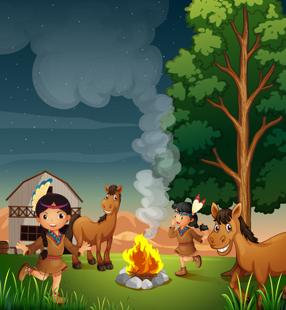 wooden horse: Illustration of a farm with Indian girls Illustration