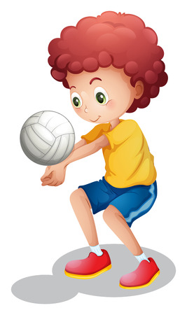 Illustration of a boy playing volleyball on a white background Vector
