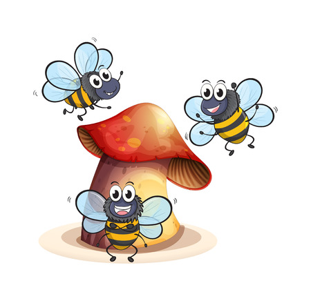 forewing: Illustration of a big mushroom plant with three bees on a white background