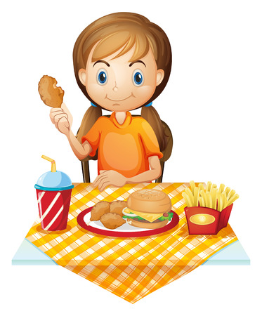 softdrink: Illustration of a pretty girl eating at the fastfood restaurant on a white background
