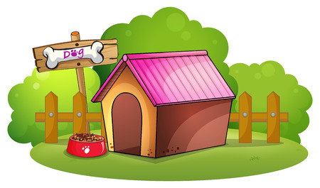 labelling: Illustration of a doghouse near the wooden fence on a white background