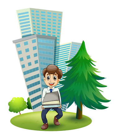 hardworking: Illustration of a hardworking man outside the building on a white background